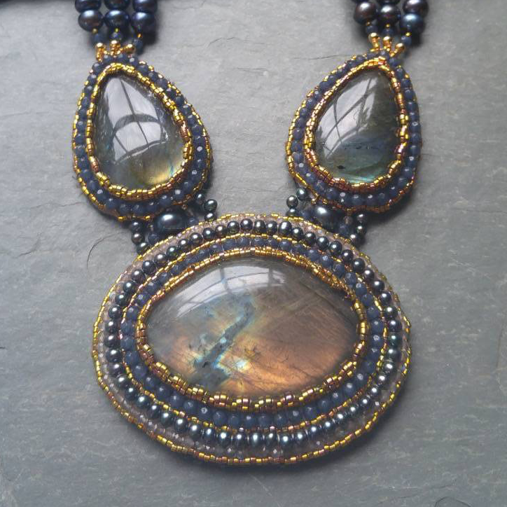 Hand Stitched Labradorite and Freshwater Pearls